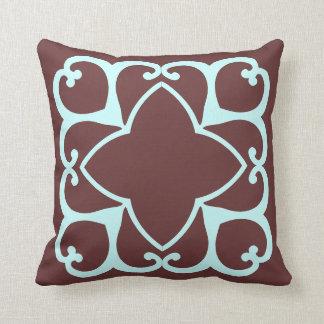 ブラウンおよびティール(緑がかった色)のdecrorative枕 クッション