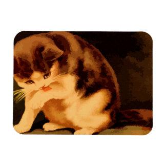 ブラウンおよびベージュ子ネコの絵画 マグネット