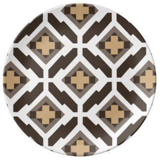 ブラウンおよびベージュ幾何学的なモザイク 磁器プレート