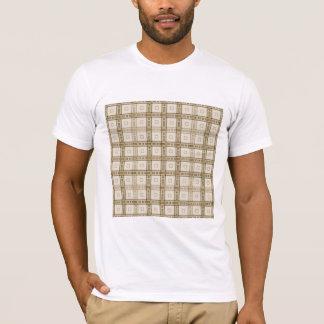 ブラウンおよびベージュ点検パターン Tシャツ