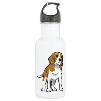 ブラウンおよび白いビーグル犬 ウォーターボトル