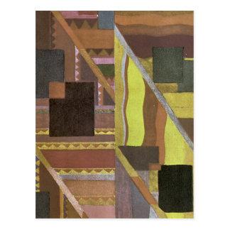 ブラウンおよび緑のアールデコの抽象芸術 ポストカード