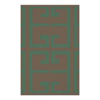 ブラウンおよび緑のタイル 便箋