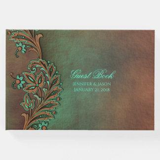 ブラウンおよび緑の秋の結婚式の来客名簿 ゲストブック