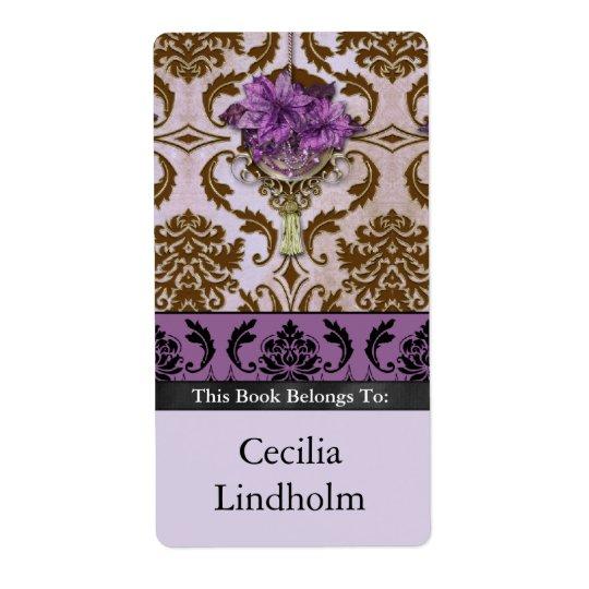 ブラウンおよび薄紫のVENEZIAのポインセチア 発送ラベル