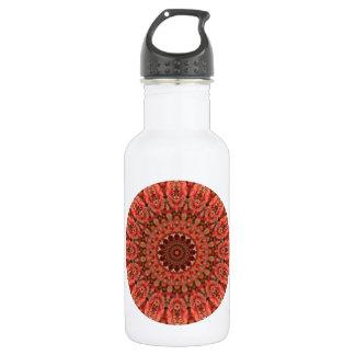 ブラウンおよび蜜柑のキスの曼荼羅の万華鏡のように千変万化するパターン ウォーターボトル