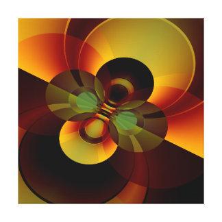 ブラウンおよび金ゴールドの円の幾何学的な抽象芸術 キャンバスプリント