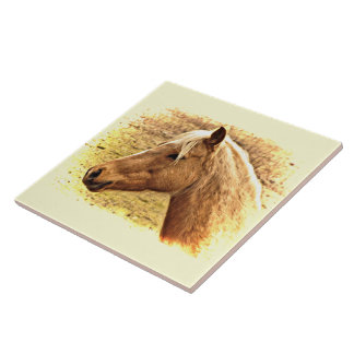 ブラウンおよび金ゴールドの馬の動物のセラミックタイル タイル