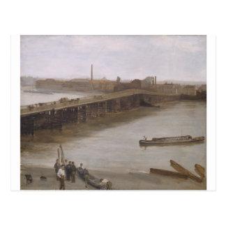 ブラウンおよび銀: ジェームス著Battersea古い橋 ポストカード