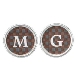 ブラウンおよび黒い格子縞の点検のモノグラムのカフスボタン カフスボタン