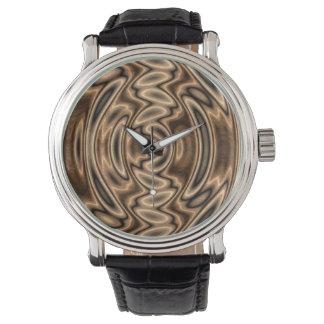 ブラウンおよび黒の抽象芸術の渦巻の腕時計 腕時計