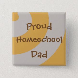 ブラウンおよびHomeschoolの灰色の誇り高いパパ 5.1cm 正方形バッジ
