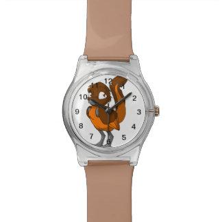 ブラウンかオレンジReptilianの鳥 腕時計