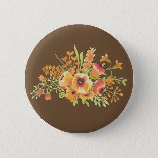 ブラウンによっては標準、2つの¼のインチの円形ボタンが開花します 5.7CM 丸型バッジ