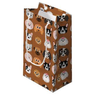ブラウンのかわいい犬 スモールペーパーバッグ