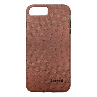 ブラウンのだちょうのレザールックのiPhone 7のプラスの場合 iPhone 8 Plus/7 Plusケース