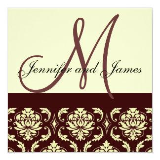 ブラウンのアイボリーのダマスク織のモノグラムの結婚式招待状 カード