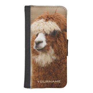 ブラウンのアルパカのカスタムな電話札入れ iPhoneSE/5/5sウォレットケース