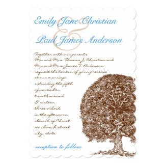ブラウンのオークの木の水の青いフォントの結婚式招待状 カード