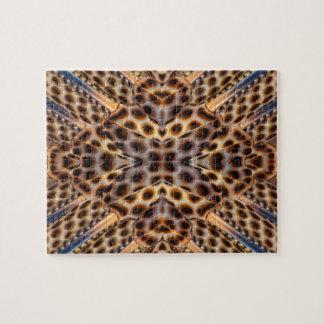 ブラウンのキジの羽の万華鏡のように千変万化するパターン ジグソーパズル
