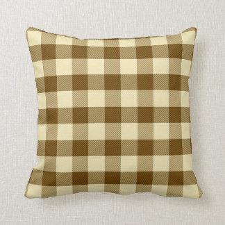 ブラウンのギンガムの枕 クッション