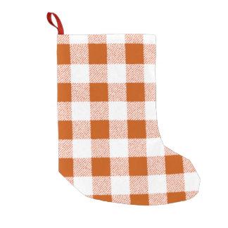 ブラウンのギンガムの点検パターン スモールクリスマスストッキング
