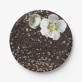 ブラウンのコーヒーのスパンコールの花の白いジャスミンのグリッター ペーパープレート