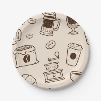ブラウンのコーヒー豆の図解入りの、写真付きのな要素パターン ペーパープレート