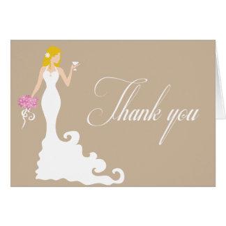 ブラウンのシックなモダンな花嫁は感謝していしています カード