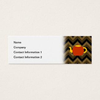 ブラウンのジグザグ形の赤いティーポット スキニー名刺