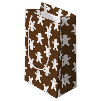 ブラウンのジンジャーブレッドのパターン(の模様が)あるなクリスマス スモールペーパーバッグ