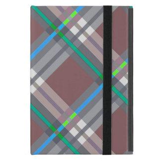 ブラウンのターコイズの格子縞、点検、タータンチェック iPad MINI ケース
