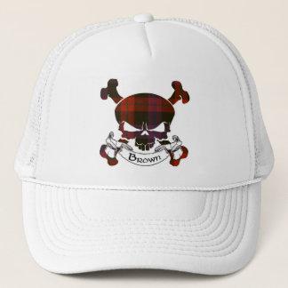ブラウンのタータンチェックのスカルの帽子 キャップ