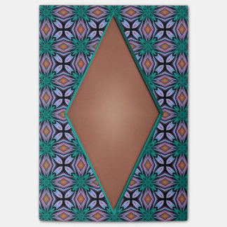 ブラウンのダイヤモンドおよびティール(緑がかった色)の花のフラクタルパターン ポストイット