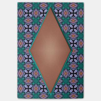 ブラウンのダイヤモンドおよびティール(緑がかった色)の花のフラクタルパターン ポスト・イット®ノート