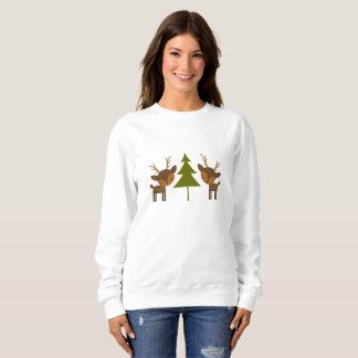 ブラウンのトナカイのクリスマスのセーター スウェットシャツ