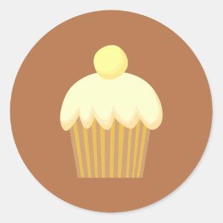 ブラウンのバニラカップケーキ ラウンドシール