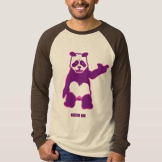 ブラウンのパンダの人の長袖のRaglan Tシャツ