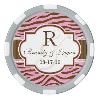 ブラウンのピンクのシマウマのストライプなアニマルプリントの結婚式 ポーカーチップ