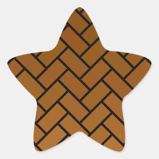 ブラウンのヘリンボンの煉瓦 星シール