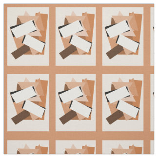 ブラウンのベージュ正方形及び三角形のブロック色のデザイン ファブリック