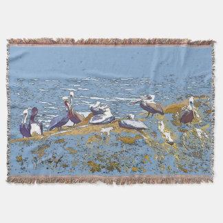 ブラウンのペリカンの鳥の海の突堤のブランケット スローブランケット