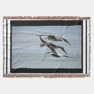 ブラウンのペリカンの鳥の野性生物動物のストライプの投球 スローブランケット
