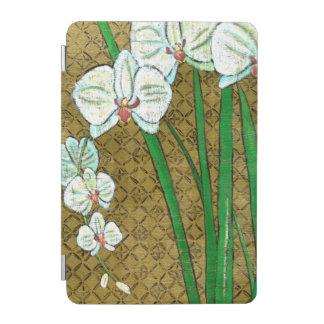 ブラウンのボーダーの白い花そして緑の茎 iPad MINIカバー