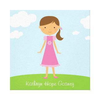 ブラウンのポニーテールの壁のキャンバスを持つ小さな女の子 キャンバスプリント