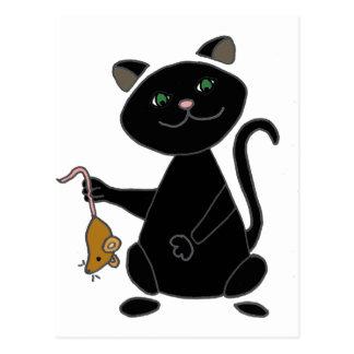 ブラウンのマウスを握っているおもしろいな黒猫 ポストカード