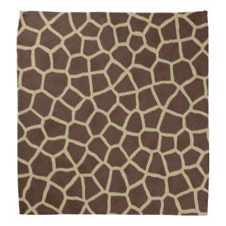 ブラウンのモダンなベージュキリンの動物の幾何学的なプリント バンダナ