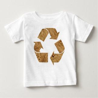 ブラウンのリサイクルの印 ベビーTシャツ
