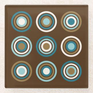 ブラウンのリングのティール(緑がかった色)のクリーム色の金ゴールドの円 ガラスコースター
