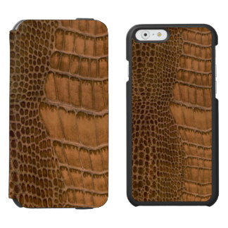 ブラウンのワニの模造模造のなビーガンのアニマルプリント iPhone 6/6Sウォレットケース